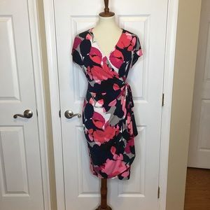 MAGGY LONDON Pink Navy Floral Wrap Dress Size 12